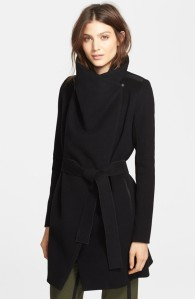 Vince's Leather Trim Asymmetric Car Coat